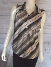 Fashion Bug Large White Black Striped Button Down Sleeveless Top Shirt Polyester
