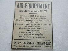1935 PUB AIR EQUIPEMENT VIET DEMARREUR COMPRESSEUR TRAIN ATTERRISSAGE AVION AD
