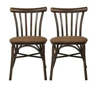 Lonabe Set of 2 Dining Chairs Modern Style Upholstered PU Seat Kitchen Room Home