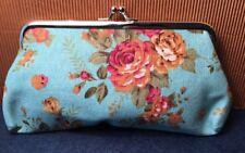 Retro revival Cottage Pastel blue Floral canvas Coin Purse Clutch small Bag