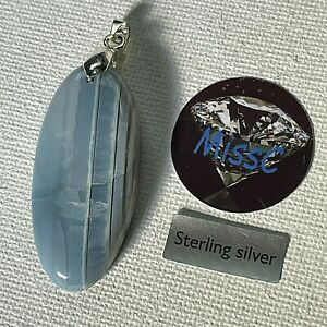 BLUE OPAL LONG OVAL PENDANT FROM USA (Nevada) WITH 925 STERLING SILVER BAIL
