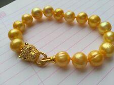 HOT HUGE AAA 11-13mm south sea Golden pearl bracelet 7.5-8 inch