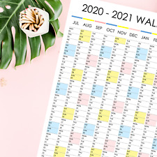 2020 - 2021 Cute Wall Planner Large Poster Financial Year Calendar Portrait