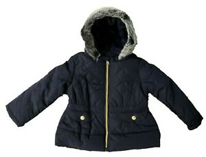 Ex John Lewis Baby Girls Navy Lined Fur Hooded Jacket Coat  3 6 9 12 18 24 £30