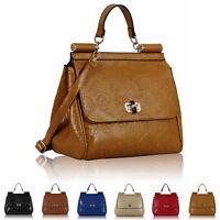 Top Handle Floral Faux Leather Ladies Designer Womens Shoulder Bag Handbag Totes