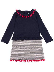 Deux Par Deux NWT Navy Knit Girls Dress With Pompoms Sizes 6,12