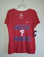 Nike Women's LARGE Philadelphia Phillies PHILLIE PHANATIC V-Neck T-Shirt #548316