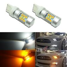 2pcs W/A Switchback 28-SMD 7443 LED Bulbs For 2015&up Ford Mustang Front Signal