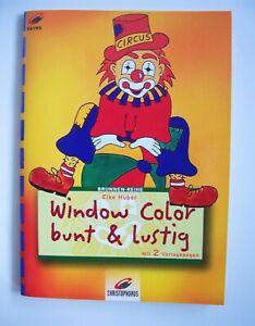 Window Color❤bunt lustig Bastelbuch Malvorlage Kinder Meerjungfrau Dino Kuh Ente