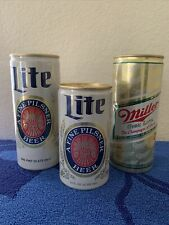 Beer Cans Pull Tab Miller High Life & Lite Old Skoll 16oz And 12 Oz Lot Of 3