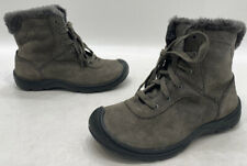 Keen Crested Butte Womens Grey Leather Lined Low Winter Boots Size 6