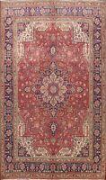 Vintage Geometric Tebriz Hand-knotted Area Rug Medallion Oriental Carpet 8'x11'