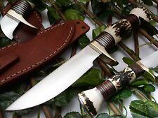 LOUIS SALVATION CUSTOM & HANDMADE STAINLESS STEEL STAG ANTLER HUNTING KNIFE