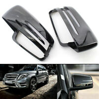 Pair Gloss Black Rearview Mirror Covers Fit Mercedes Benz E/C/S W212 W204 W221