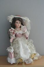 "Beautiful Porcelain Doll w. Brown Hair and Blue Eyes - 16"" w. Stand"