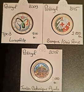 Pièces 2 Euro Commémorative COULEUR : Portugal 2009-2015-2018.