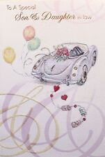 To a special Son & Daughter in Law Wedding Day greeting card, wedding car theme
