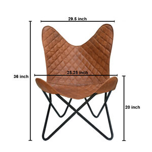 Butterfly Chair Vintage Real Leather Brown Hide Sleeper Seat Lounge     Our vint