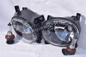 Glass Fog Driving Light Lamps w/2 Light Bulbs One Pair Fit 2009-14 A4 2009-11 A6
