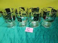 Vintage Set of 4 Gold & Black Car Parts  Drinking Glass/Tumblers (#2) FREE SHIP