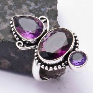 Amethyst Ethnic Handmade Ring Jewelry US Size-11 AR 38226