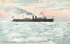 Ashtabula Harbor Ohio Car Ferry In Ice Boat Steam Ship Antique Postcard K10252
