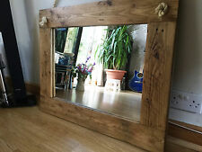 Beautiful Rustic Farmhouse Hand Crafted Wall Mirror Solid Wood with Oak Finish