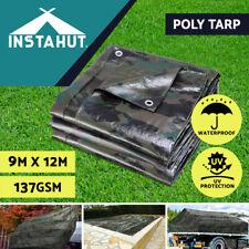 Instahut Tarpaulin Tarp Canvas Camping Poly Tarps Heavy Duty Cover 137gsm Camo