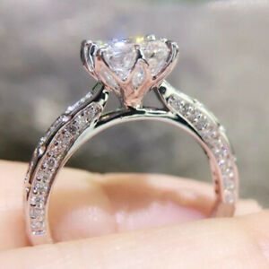 1.78 TCW Princess Cut Moissanite Unique Engagement Ring In 14k White Gold Plated
