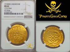MEXICO 1715 FLEET SHIPWRECK 8 ESCUDOS NGC 62 QUASI ROYAL PIRATE GOLD COINS