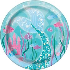 """8 x 7"""" Mermaid Tail Paper Plates Girls Birthday Party Tableware Supplies Green"""