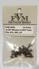 """Fox Valley Models FVM 2802 28"""" Brass Wheels w/.553"""" Axle (12 axles) N-Scale. New"""