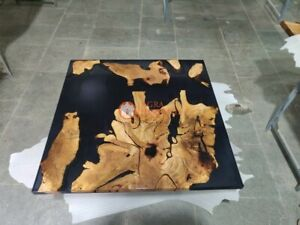 Epoxy Resin Coffee Top Table Acacia Wooden Black River Dining Desk Patio Decors