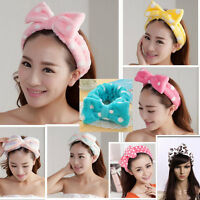 Coral Fleece Big Bow Dot Stripe Towel Hair Band Wrap Headband Bath Spa Make Up