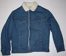 Vintage Mens Sears Roebuck Sherpa Jean Jacket Denim Button Up M Trucker USA Made