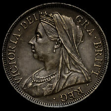 1901 Queen Victoria Veiled Head Silver Half Crown, A/UNC