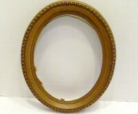 "9"" X 7"" VICTORIAN Antique OVAL WOOD Wall Art PHOTO PICTURE FRAME Gold Finish"