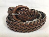 Vintage Full Grain Cowhide Argentina Brown Leather Woven Braided Belt Mens Sz 40