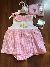 NWT Vitamins Kids pink/white dress with ladybug (18m), with hat & sunglasses.