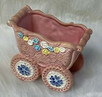 Napco Vintage Collectible Baby Buggy Planter Pink Floral Japan