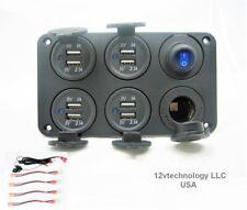 New Waterproof 12.4 Amp Dual USB Charging + Switch + w/ Wires + 12V Plug Socket