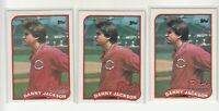 DANNY JACKSON 1989 Topps #730 Error/Variation Light/Dark Banner Reds 3 Versions