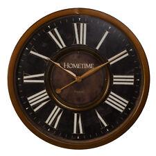 Hometime Large Metal Case Wall Clock Black & Bronze Finish