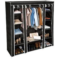 Armoire de rangement en tissu triple vêtements dressing penderie & tringle noir