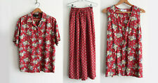 Vtg 80s 90s Karen Kane 3 Piece Set Wide Leg Pants Vest Short Sleeve Top Small