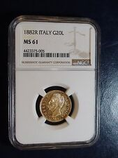 1882R Italy Twenty Lire Gold NGC MS61 20L GOLD COIN PRICED TO SELL NOW!