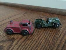 Vintage 1950's Midgetoy Semi Truck Cab & Tootsietoy U.S. Army Jeep Diecast Toys