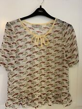 Ladies Next Sheer Cars Print Top Size 12