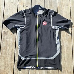 CASTELLI RAFFICA MEN'S XL CYCLING JERSEY BLACK/GRAY STRETCH WOVEN RACE CUT