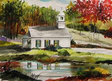 ORIGINAL Church Landscape Watercolor Painting JMW John Williams Impressionism